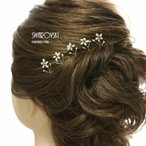 淡水真珠とパープルスワロフスキーの「フラワーパレード」髪飾りUピン5本