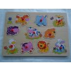 幼児向 知育玩具 ノブ付き木製パズル ベビーアニマル