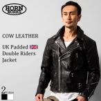 UKパッドダブルライダースジャケット メンズ 本革 Horn Works 3568  ダブルライダース ライダースジャケット レザージャケット 革ジャン 皮ジャン ブラック 黒