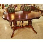 イタリア製 輸入家具 重厚な木目とレザーチェアのテーブルセット ブロジャート brogiato 4人用 5点 変形だ円150cm 1323leth-GR 送料無料