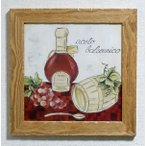 イタリア製 輸入雑貨 額絵 アートフレーム バルサミコ酢 ブドウ テーブル キッチン アンティーク風 LIB-1943-52 直輸入 リビングスタジオ 送料無料
