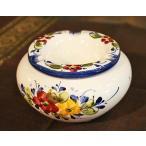 ポルトガル製 輸入雑貨 直輸入 陶器 灰皿 フタ付き 丸型 花柄 ホワイト ブルー 手描き アルコバサ 11.5cm PFA-636W