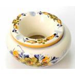 ポルトガル製 輸入雑貨 直輸入 陶器 灰皿 フタ付き 丸型 花柄 イエロー 手描き アルコバサ 11.5cm PFA-636Y