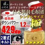 ポーランド産ホワイトマザーグースダウン93% 2層キルト 二層 429dp ロイヤルゴールドラベル 日本製 極 スペシャル シングル 羽毛布団 MK