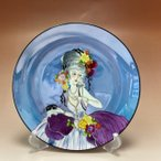 オールドノリタケ  ポンパドール夫人 飾り皿  ブルーラスター彩 M-JAPAN印 NO1122
