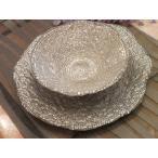 IVV・イタリア製 ガラス大皿、ボウルのセット Diamante ディアマンテ シャンパンゴールド(5530 5533)