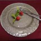 【IVV・イタリア製】大皿 ガラス皿 Diamante/ディアマンテ シャンパンゴールド 32cmプレート(6778_4)