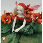 若月まり子作品 エルフィンフローリー ナスタチウム(レッド)エルフィンフローリー 創作人形(ビスクドール)a-070-1