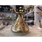 オールドノリタケ 両耳飾壷 花瓶 金盛ジュエル更紗図紋 メイプルリーフ印