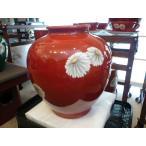 帰国オールドノリタケ  日陶 花瓶 花柄 朱地白菊・花瓶 (大)高さ約27cm、フラワーベース【中古】