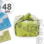 風呂敷 中巾 チーフ 鳥獣人物戯画 48cm ふろしき ナフキン ランチクロス 綿100% ( 綿 祝儀 ご祝儀 袱紗 ふくさ 包み )