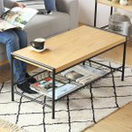 ローテーブル センターテーブル 北欧風 スチールフレーム FLEDGE 幅95cm ( テーブル 机 つくえ リビングテーブル )