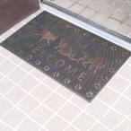 玄関マット 屋外 泥おとし ラバーマット RECT WELCOME CAT ( 泥落としマット 玄関 室外 マット )