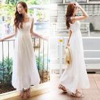 マキシワンピース シフォンワンピース ドレス マキシ丈ワンピース 結婚式 白 ホワイト 春 ロング ノースリーブ マキシワンピ ワンピース レディース