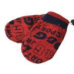 DOLCE&GABBANA ドルチェ&ガッバーナ ミトン手袋 ニット手袋 LN2064 OL82H R0046 レッド×ネイビー 全面ロゴ 2Uサイズ ジュニアサイズ キッズ 子供用