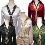細身サイズ長袖 取り外し可能チェーンプリントスカーフ付超光沢ありのテカテカツルツルストレッチの長袖サテンシャツブラウス