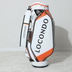 ロコンド ゴルフ LOCONDO GOLF ゴルフキャディバッグ 【返品不可商品】(ホワイト×オレンジ)