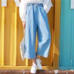デニム ガウチョパンツ マキシ スカンツ ガウチョパンツ ワイドパンツ ジーンズ デニム レディース ユーズド スカーチョ 大きいサイズ