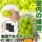 野球 バッティング 練習用 ボール 穴あきボール 50個セット 専用メッシュバッグ付き 軽い 柔らか 安全 室内練習 遊び おもちゃ 野球ボール