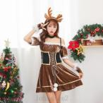 コスプレ トナカイ サンタ 衣装 new クリスマス コスチューム サンタクロース コスプレ 衣装 サンタコスチューム レディース ワンピース ロング サンタ耳