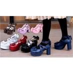 ロリータファッション 厚底 クロス ストラップ シューズ 靴