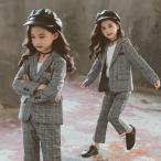 卒業式 スーツ 女の子 韓国 パンツ 子供 春 秋 フォーマル 卒服 女の子 パンツスーツ 小学生 入園式 子供服 セットアップ フォーマル チェック柄 かっこいい
