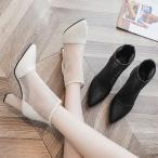 とんがり ハイヒール 靴 レディース ショートブーツ 夏新作 サマーブーツ ブーツサンダル メッシュ 透かし彫り 太ヒール  通気性 女性用 美脚/脚長 歩きやすい