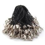 ショッピングストラップ ポイント消化 銀 カニカン 付き 携帯ストラップ 黒紐 × 銀カニカン 約100本