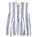 イザベルマラン エトワール ISABEL MARANT ETOILE 18SS Denize Dress フリンジストライプスキッパードレス 18P033E 1 ホワイト/ブルー ワンピース