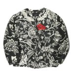 イザベルマラン ISABEL MARANT Hawaii Aloha Bomber Jacket 刺繍シルクノーカラーブルゾン VE0193-13E0451 34 ブラック 中綿 ジャケット アウター