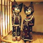 猫 ネコ インテリア 置物 手彫り 彫刻 手作り オブジェ アンティーク アジアン アジアン家具