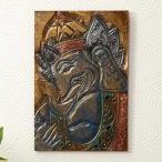 彫刻絵画バリアートガネーシャ壁掛けアジアンインテリアレリーフ装飾