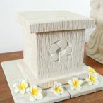 アジアン雑貨石ストーン土台スタンド台プルメリアフランジパニインテリアオブジェ彫りバリ置物