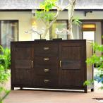 アジアン家具 チェスト キャビネット 収納 抜群 真鍮取手 高級感  引き出し 4段 ふたつ扉 送料無料