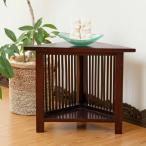 サイドテーブル コーナーラック 台 収納 木製 マホガニー アジアン家具 バリ