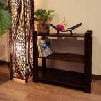 シェルフ3段アジアン家具無垢材おしゃれ木製バリインテリアスリッパ玄関ラック収納