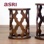 サイドテーブル チーク無垢材 北欧 アジアン家具 おしゃれ 丸型 直径35 木製 バリ インテリア モダン 高級感 ベッドサイド