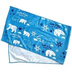 ひんやりタオル 冷たいタオル クールタオル 可愛い シロクマ柄 (ブルー) 30×100cm