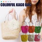 ショッピングかごバッグ かごバッグ  カゴバッグ コサージュ付き 巾着 ゆかたバッグ 送料無料
