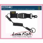 SUBROC SPIRAL LEASH CORD SHORT / BLACK/TAN