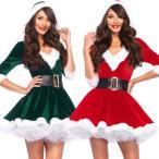 サンタ  レディース  コスプレ セクシー ワンピース バニエ付き サンタクロース衣装 パーティードレス 仮装 大きいサイズ サンタクロース