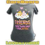 ショッピングケアベア 送料無料 ケアベア レディース TシャツF ラブアロット&テンダーハート ダークグレー Care Bears