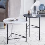 テーブル サイドテーブル おしゃれ 大理石柄 スチール脚 回転式 円 丸 スリム ベッドサイド シンプル ロウヤ LOWYA
