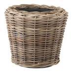 ショッピングラタン ラタンバスケット/籐かご 〔置き型 直径34cm〕 プラスチック内容器付き 『モンデリック』 〔園芸 ガーデニング用品〕