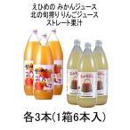 みかん、りんごジュース味比べ 伯方果汁 えひめのみかんジュース / 川原 北の旬搾り りんごジュース 1L瓶 各3本 1箱  6本入
