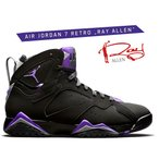 ナイキ エア ジョーダン 7 NIKE AIR JORDAN 7 RETRO RAY ALLEN black/field purple-fir 304775-053 スニーカー レイアレン Milwaukee Bucks AJVII