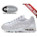 ナイキ エアマックス 95 レディース NIKE AIR MAX 95 (GS) white/white-metallic silver 905348-104 スニーカー AM95 ホワイト ガールズ