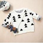 yuzuyu_shop 子供服 男女兼用 男の子 女の子 ニット 三角 トライアングル 冬服 白 黒 (80cm)