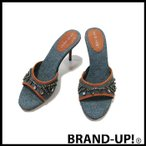 ナインウエスト 靴 サンダル レディース ビジュー ブルー サイズ 6M 中古 未使用