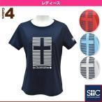 [セントクリストファー テニス・バドミントンウェア(レディース)]ストライプクロスTシャツ/レディース(STC-AGW2045)